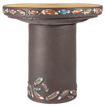 Flight Handpainted Birdbath - Dark Stone