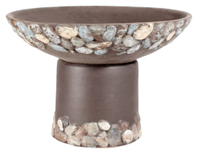 Riverstones Handpainted Short Planter - Dark Stone