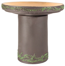 Wreath Handpainted Birdbath - Dark Stone