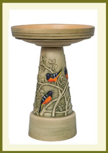 Oriole Birdbath Set - Hand-Painted $139.99