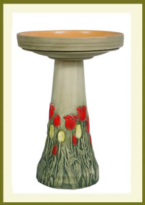 Tulip Birdbath Set - Hand-Painted $139.99